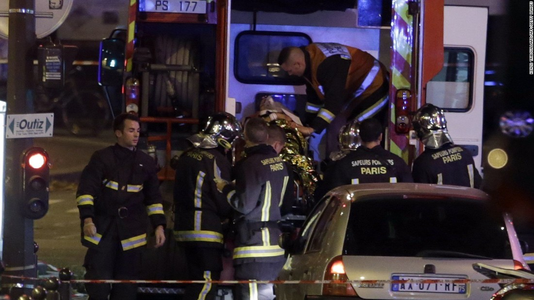 An injured man is put into an ambulance following the attack. Lylia Melkonian, a reporter for France 2, told CNN the neighborhood has many restaurants that were packed with patrons. Melkonian said authorities were evacuating the area.