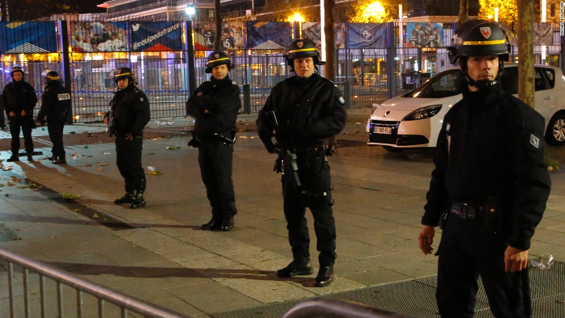 Police secure the Stade de France in Saint Denis, north of Paris, following a string of attacks on Friday, November 13. Dozens were killed in shooting attacks and following explosions at the Stade de France, Paris Deputy Mayor Patrick Klugman told CNN..