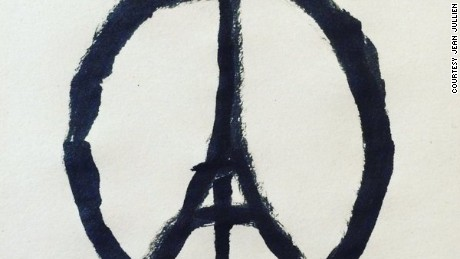 'French illustrator Jean Jullien drew this after he learned about the Paris attacks.' from the web at 'http://i2.cdn.turner.com/cnnnext/dam/assets/151114113041-peace-for-paris-jean-jullien-large-169.jpg'