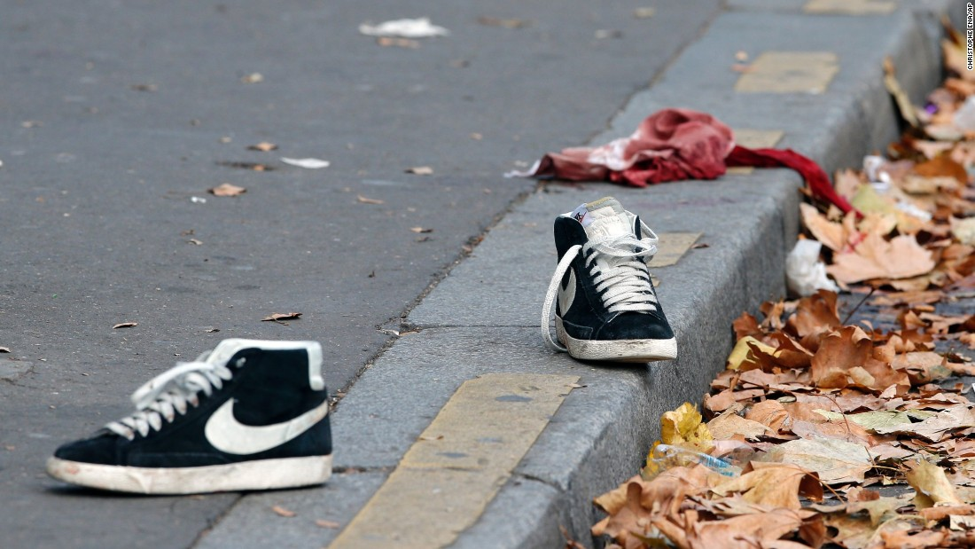 Shoes and a bloody shirt lie outside the Bataclan concert hall on November 14. Most of the fatalities occurred at the Bataclan in central Paris.