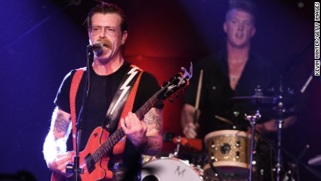 Musicians Jesse Hughes and Josh Homme of the band Eagles of Death Metal who performed in the Bataclan theatre last night.