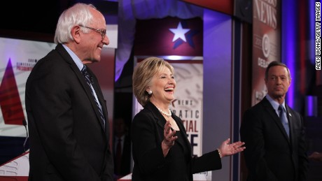 From left, Democratic presidential candidates Bernie Sanders, Hillary Clinton and Martin O'Malley take the debate stage at Drake University in Des Moines, Iowa, on Satuday, November 14 . It was the party's second presidential debate.