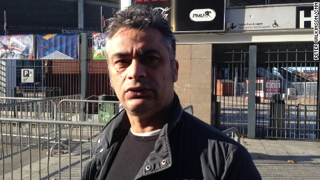 Kevin Tulga, pictured, was walking through the entrance of the Stade de France with his 10-year-old son when the bomber detonated behind him.