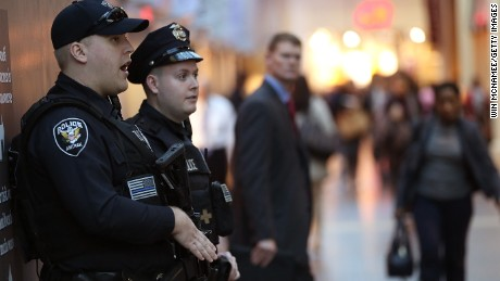 Amtrak police patrol Union Station November 16, 2015 in Washington, DC.