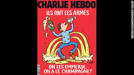 "This handout image obtained from French Satirical magazine Charlie Hebdo on November 17, 2015 shows the cover of the latest edition of the magazine which features its satirical take on the November 13, 2015 terror attack in Paris in which at least 129 people were killed, and a headline which translates as ""They are armed,  Fuck them, We have Champagne"".   RESTRICTED TO EDITORIAL USE - MANDATORY CREDIT  "" AFP PHOTO / CHARLIE HEBDO""  -  NO MARKETING NO ADVERTISING CAMPAIGNS   -   DISTRIBUTED AS A SERVICE TO CLIENTS HO/AFP/Getty Images"
