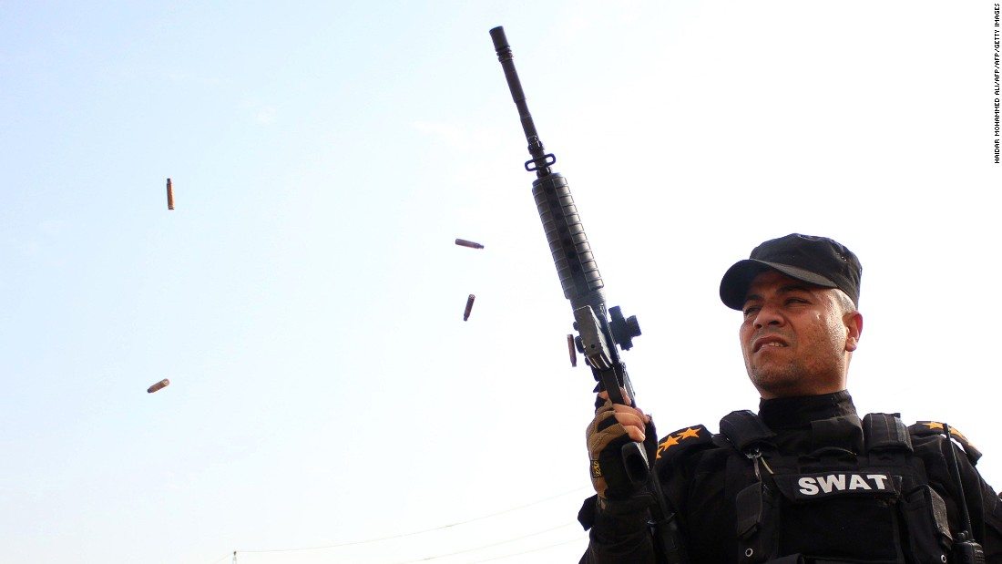 A member of the Iraqi security forces fires ammunition in Baghdad in 2014 during a funeral procession of an Iraqi politician. The deadliest city in the world for terrorism is Baghdad. There were 2,454 deaths in Baghdad in 2014, with a death rate from terrorism of 43 per 100,000 people.