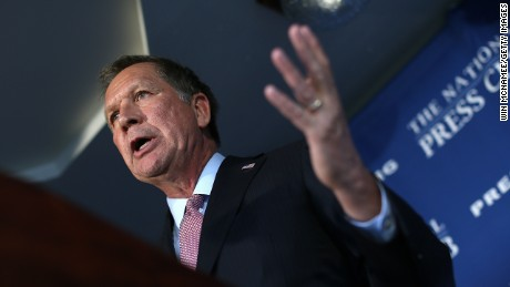 Republican presidential candidate Gov. John Kasich (R-OH), answers questions after delivering remarks at the National Press Club November 17, 2015 in Washington, D.C.