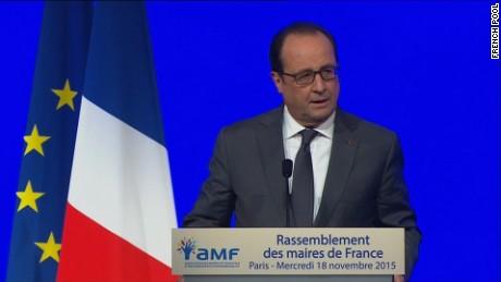 Francois Hollande speaking on November 18.