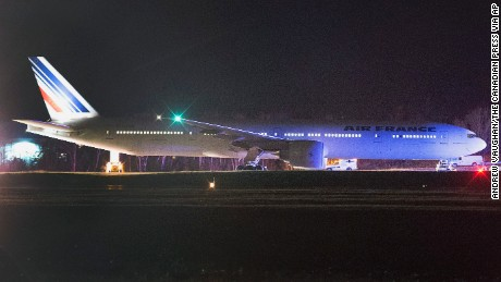 Air France Flight 55 lands at Halifax Stanfield International Airport in Canada.