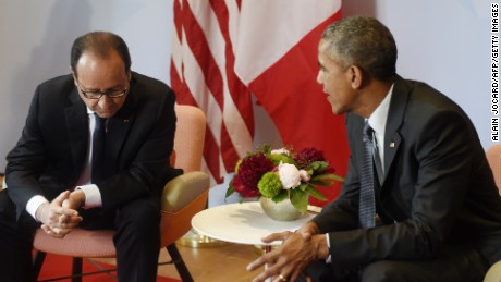 U.S. President Barack Obama (right) and French President Francois Hollande take part in a bilateral meeting on the sidelines of the G7 Summit at the Schloss Elmau castle resort near Garmisch-Partenkirchen, in southern Germany on June 8, 2015.