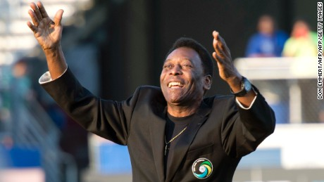 Brazilian soccer star and former Cosmos player Pele waves to the crowd before the New York Cosmos game August 3, 2013 at Hofstra University in Hempstead, New York. The former player attended the North American Soccer League season opener of the Cosmos against the Ft. Lauderdale Strikers.    AFP PHOTO/Don Emmert        (Photo credit should read DON EMMERT/AFP/Getty Images)