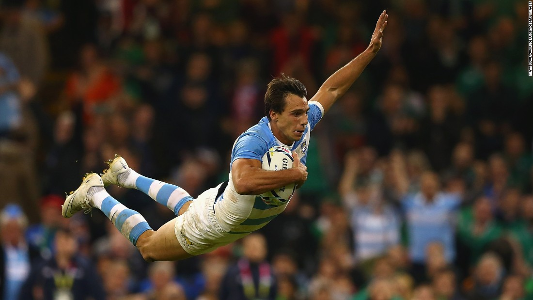 Juan Imhoff scores Argentina's fourth try during the Rugby World Cup quarterfinals on Sunday, October 18. Argentina defeated Ireland 43-20 in Cardiff, Wales.