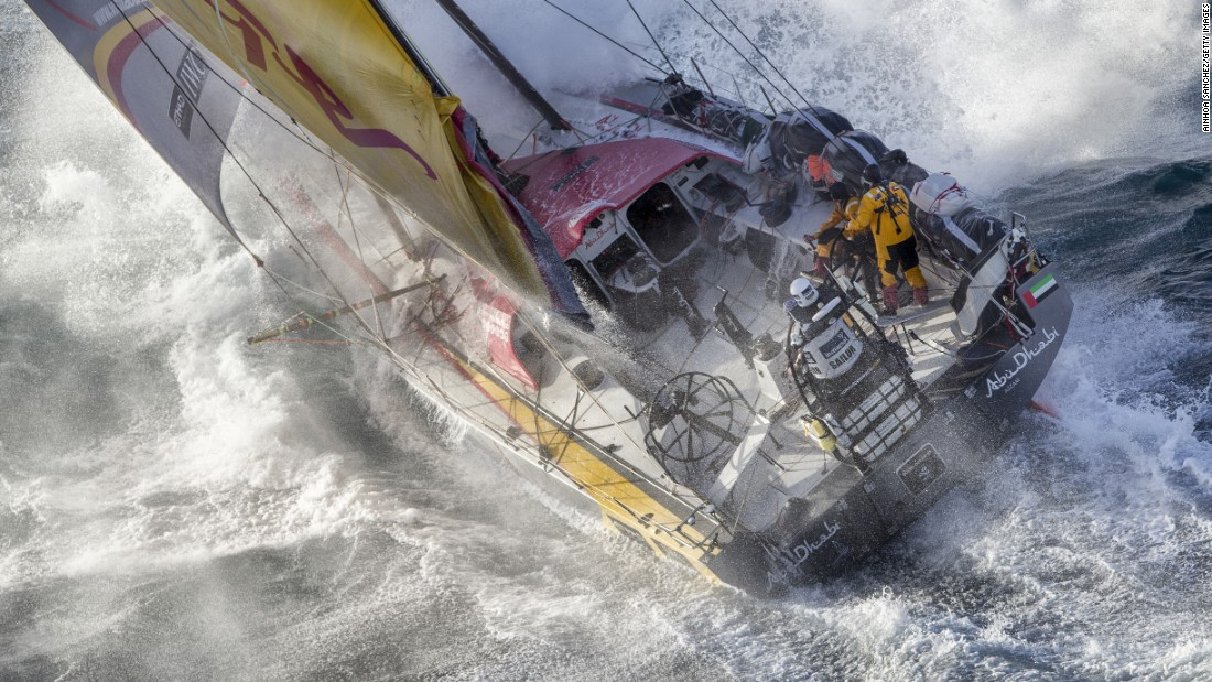 The Abu Dhabi Ocean Racing team copes with rough waters as it passes East Cape, the easternmost point of New Zealand, during the fifth stage of the Volvo Ocean Race on Wednesday, March 18. The Abu Dhabi team ended up winning the ocean marathon, which visited 11 ports in 11 countries over nine months.