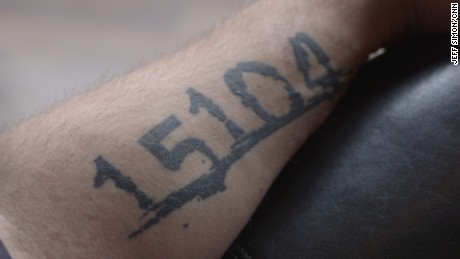 A tattoo on the arm of Braddock, Pennsylvania mayor John Fetterman. Fetterman is running for U.S. Senate as a Democrat.
