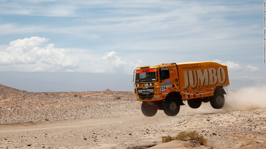 Charly Gotlib, Frits Van Eerd and Peter Vervoort ride in a jumbo truck Tuesday, January 6, during the third stage of the Dakar Rally in Argentina.