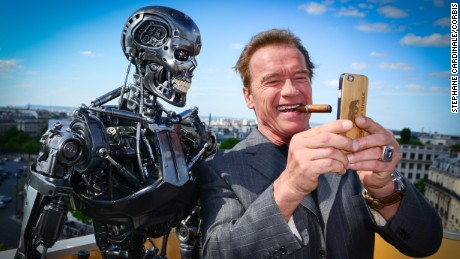 Actor Arnold Schwarzenegger attends the Photocall of 'Terminator Genisys' at the Publicis Champs Elysees on June 19, 2015 in Paris, France.