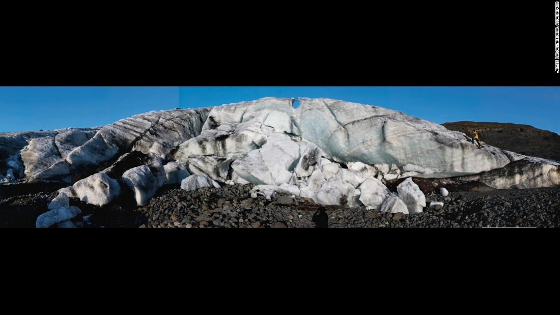 A single summer stole more than 200 feet (60 meters) of ice from the snout of Sólheimajökull, a glacier in Iceland, seen in April 2006.