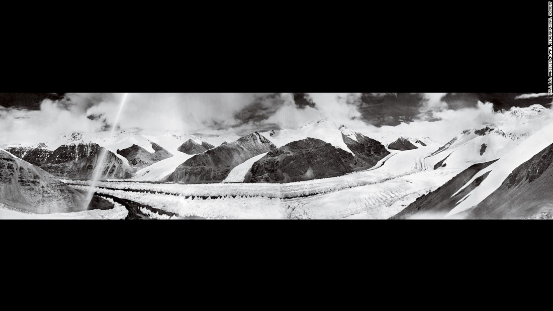 Mount Everest's East Rongbuk Glacier lost some 350 vertical feet of ice between August 1921 (above) and October 2008 (next).