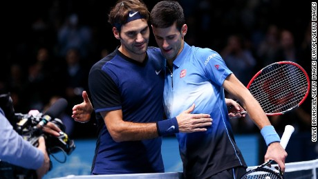 LONDON, ENGLAND - NOVEMBER 17:  Roger Federer of Switzerland (L) embraces Novak Djokovic of Serbia (R) after his straight sets victory during day three of the Barclays ATP World Tour Finals at the O2 Arena on November 17, 2015 in London, England.  (Photo by Clive Brunskill/Getty Images)