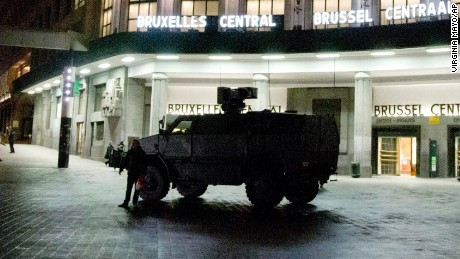 A Belgian Army vehicle is parked in front of the main train station in the center of Brussels on Saturday, Nov. 21, 2015. Belgium raised its security level to the highest degree on Saturday as the manhunt continues for extremist Salah Abdeslam who took part in the Paris attacks. The security alert shut metro's, shops, and cancelled events with high concentrations of people. (AP Photo/Virginia Mayo)