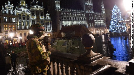 A Belgian soldier stands guard at the Grand Place in Brussels on November 22, 2015.
