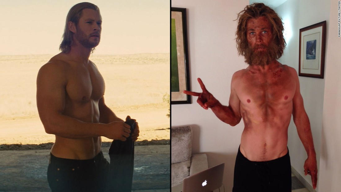 "If you know Chris Hemsworth as the mighty Thor -- at left in 2011 -- his diminished size and scraggly face for the upcoming film ""In the Heart of the Sea"" might come as a shock. Hemsworth <a href=""https://twitter.com/chrishemsworth/status/668417450946375680/photo/1"" target=""_blank"">tweeted the photo on the right Sunday</a>. ""Just tried a new diet/training program called 'Lost At Sea'. Wouldn't recommend it,"" he wrote."