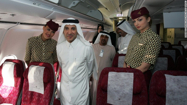 """As a huge airplane geek, sitting in the cabin with the CEO of Qatar Airways -- Akbar Al Baker, pictured center -- was pretty damn cool,"" said Schlappig.<br /><br />""He was kind of a hero, someone who's always been very interesting to me."""