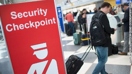CHICAGO, IL - JUNE 02:  A sign directs travelers to a security checkpoint staffed by Transportation Security Administration (TSA) workers at O'Hare Airport on June 2, 2015 in Chicago, Illinois. The Department of Homeland Security said that the acting head of the TSA would be replaced following a report that airport screeners failed to detect explosives and weapons in nearly all of the tests that an undercover team conducted at airports around the country.  (Photo by Scott Olson/Getty Images)