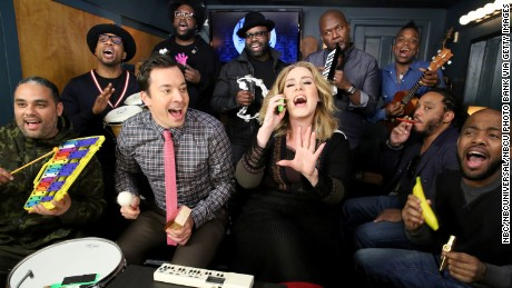"""Tonight Show"" host Jimmy Fallon and The Roots performed with Adele in November, thrilling fans."