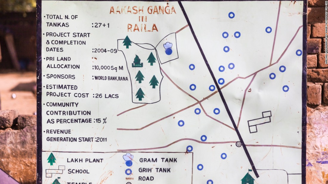 Aakash Ganga is a network of rooftops, gutters, pipes and underground reservoirs that collect and store the monsoon rains. Now the system provides clean, safe drinking water to six villages -- 10,000 people -- all year long. Pictured here, a sign shows one village's layout of household and community tanks.