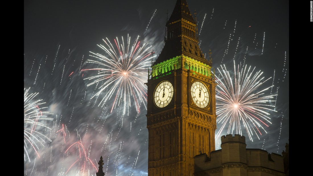 January 1, 2015 - New Year's fireworks explode over Big Ben in London.