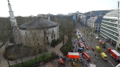 A picture taken on November 26, 2015 shows ambulances, police and fire fighter vehicles outside the mosque after a suspect letter with powder was found at the Great Mosque in Brussels on November 26, 2015.  AFP PHOTO / BELGA / ERIC LALMAND   ***BELGIUM OUT*** / AFP / BELGA / ERIC LALMAND        (Photo credit should read ERIC LALMAND/AFP/Getty Images)