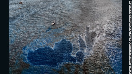 Oil Spill #4, Oil Going Over Boat, near Ground Zero, Gulf associated with Mexico, June 24, 2010