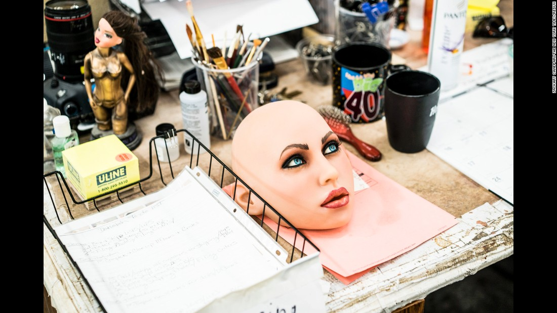 <strong>June 1:</strong> The detached face of a life-sized doll made by Realbotix sits on a desk in San Marcos, California. Matt McMullen, the creator of the RealDoll line of sex dolls, assembled a team of engineers to work on animating the dolls.