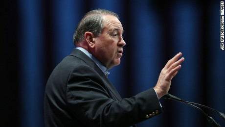 Republican presidential candidate former Arkansas Governor Mike Huckabee speaks during the Sunshine Summit conference being held at the Rosen Shingle Creek on November 13, 2015 in Orlando, Florida.