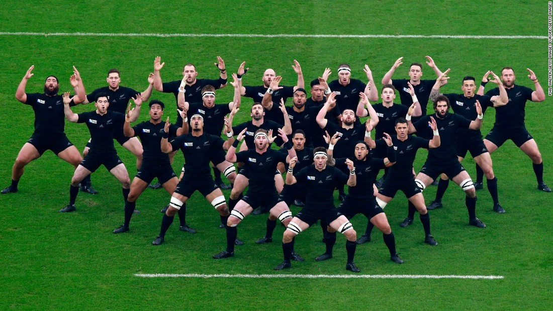 "New Zealand's rugby team performs the traditional Haka dance before playing South Africa in the Rugby World Cup semifinals on Saturday, October 24. New Zealand went on to win the tournament. It was the second straight title for the ""All Blacks,"" who also won the event in 2011."