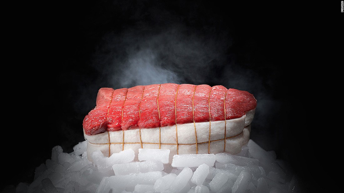 """Through a process called """"hibernation,"""" invented by France's Polmard family, meat can be stored safely for any length of time. Cold air is blown at speeds of 120 kilometers per hour over the beef in a -43 C environment. The 2000 vintage cote de boeuf (rib steak) can cost as much as $3,200."""