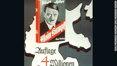 "Nazi era poster pitches Hitler's vile manifesto ""Mein Kampf"" as ""The book of Germans,"" and boasts 4 million copies."