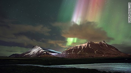 Northern Lights beam over Akrafjall.