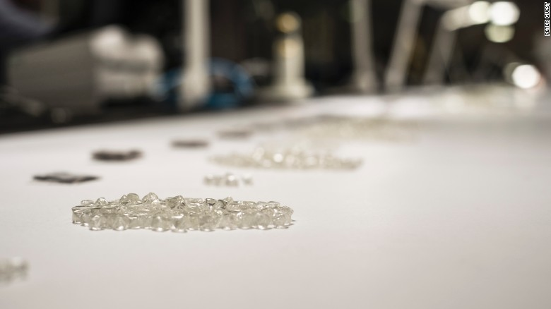 Rough diamonds await inspection at De Beers' Global Sightholder Sales facility in Gaborone, Botswana
