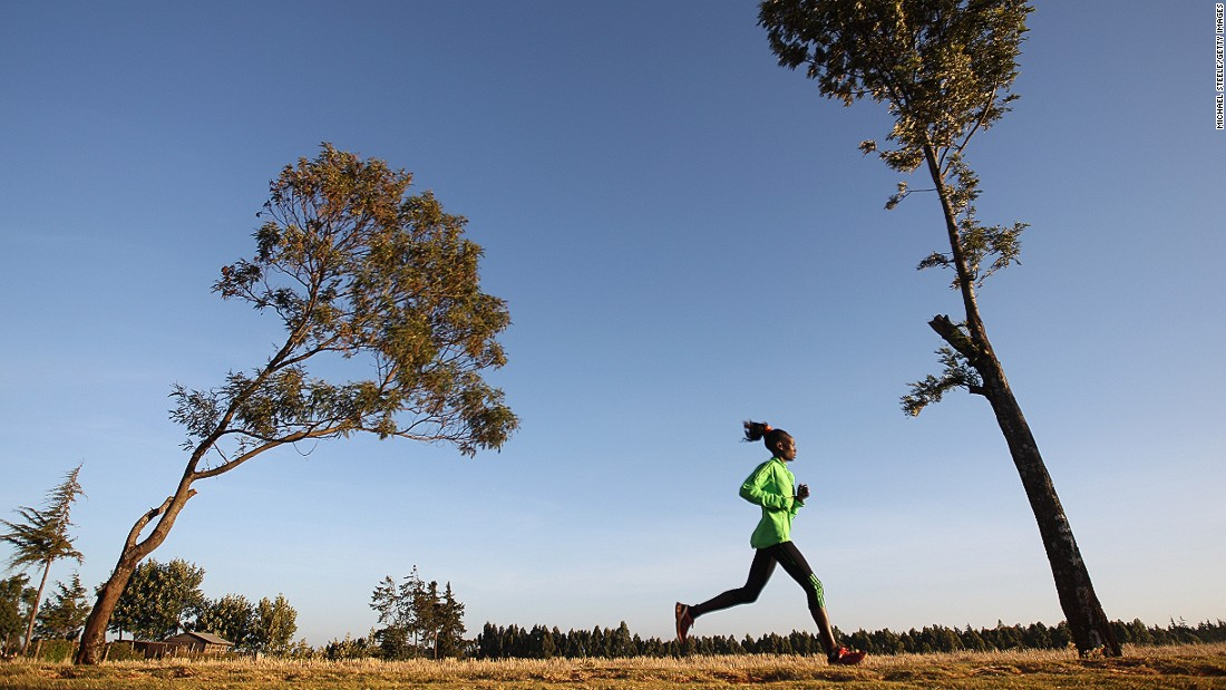 Kenya's Mary Keitany became the World Half Marathon champion in 2009 and won the London marathon in 2012 with a time of 2:18:37 -- making her the second fastest woman (behind Great Britain's Paula Radcliffe) ever to run the event. Keitany pictured during a training run near Iten.