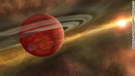 HD 106906 b, a gaseous planet 11 times more massive than Jupiter, is believed to have formed in the center of its solar system, before being sent flying out to the edges of the region by a violent gravitational event.