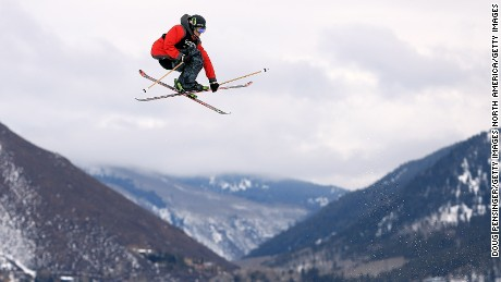 ASPEN, CO - JANUARY 25:  Alex Schlopy of the USA goes airborne in the Men's Ski Slopestyle Elimination during Winter X Games Aspen 2013 at Buttermilk Mountain on January 25, 2013 in Aspen, Colorado.  (Photo by Doug Pensinger/Getty Images)