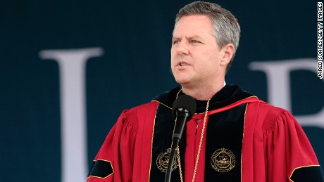 Rev. Jerry Falwell Jr. speaks after Republican presidential candidate and former Massachusetts Gov. Mitt Romney delivers the commencement address at Arthur L. Williams Stadium on the campus of Liberty University on May 12, 2012 in Lynchburg, Virginia.
