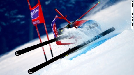 BEAVER CREEK, CO - DECEMBER 06:  Ted Ligety of the United States crashes during the first run of the Audi FIS Ski World Cup Giant Slalom race on the Birds of Prey on December 6, 2015 in Beaver Creek, Colorado.  (Photo by Ezra Shaw/Getty Images)
