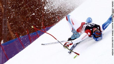 BEAVER CREEK, CO - DECEMBER 06:  (FRANCE OUT)  Cornel Zueger of switzerland crash during the Men's Super G at the 2008 Birds of Prey FIS Skiing World Cup on December 6, 2008 in Beaver Creek, Colorado. (Photo by Agence Zoom/Getty Images)