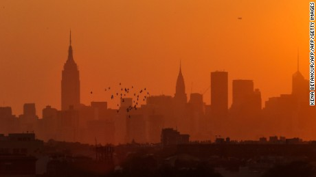 New York City skyline it's seen from the USTA Billie Jean King National Tennis Center the venue for the 2015 US Open on September 7, 2015 in New York. AFP PHOTO/KENA BETANCUR        (Photo credit should read KENA BETANCUR/AFP/Getty Images)