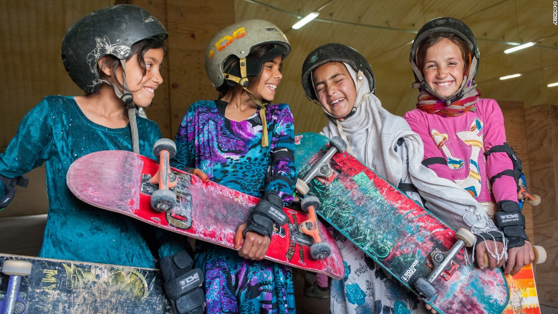 """Skateistan focuses on Afghan girls, giving them skateboarding training and an education program. """"Under Sharia law (the Islamic legal system), girls aren't allowed to ride bikes or do much at all,"""" says Gregor. """"But through a loophole, they're allowed to skateboard because it's seen as a toy."""""""
