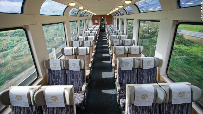 The train's viewing carriages offer stunning views of the Canadian Rockies.