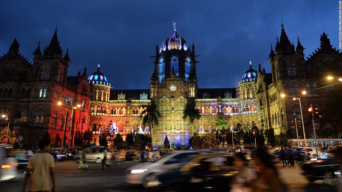 The Chhatrapati Shivaji railway terminus is one of the most beautiful buildings in Mumbai. Some say the Gothic architecture looks best when lit up at night.